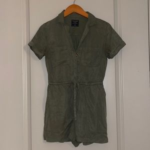 A&F army green button front romper size XS